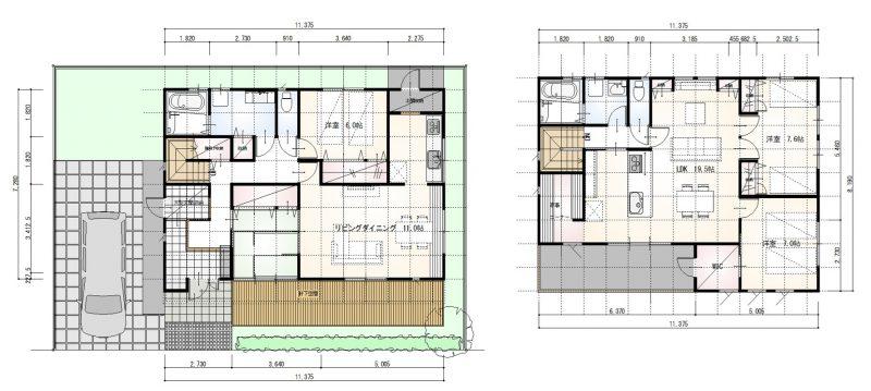 プライバシーに配慮した共有型二世帯住宅